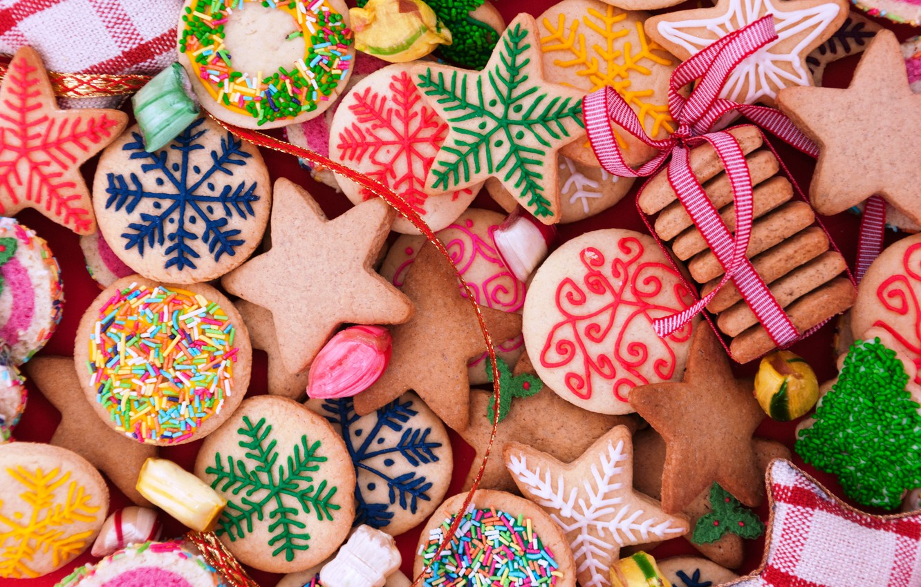 Wallpaper New Year Cookies Christmas Christmas Cakes Sweet