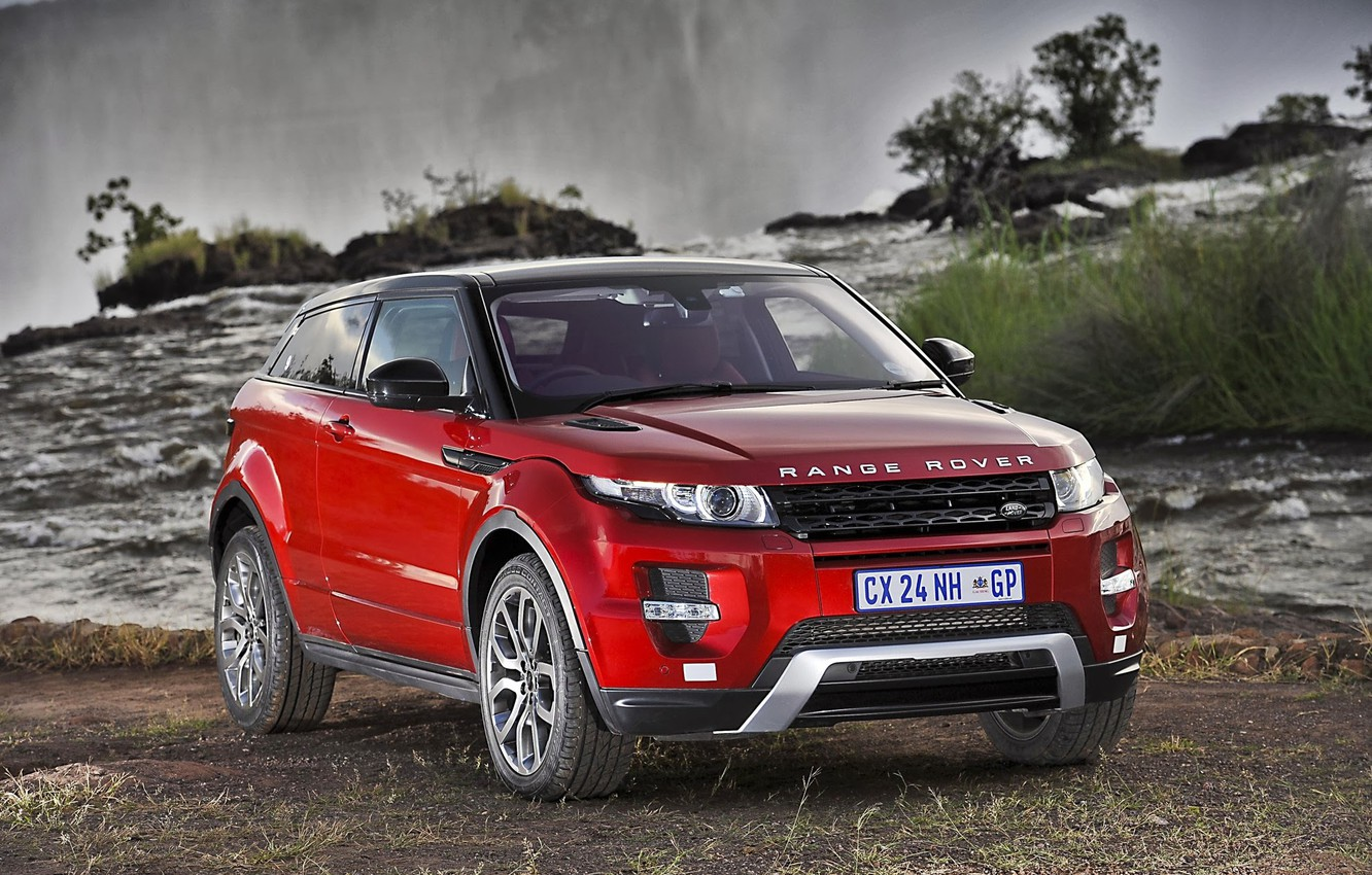 Photo wallpaper Red, Waterfall, Jeep, Red, Land Rover, Range Rover, Car, Car, SUV, South Africa, Evoque, Ewok, …