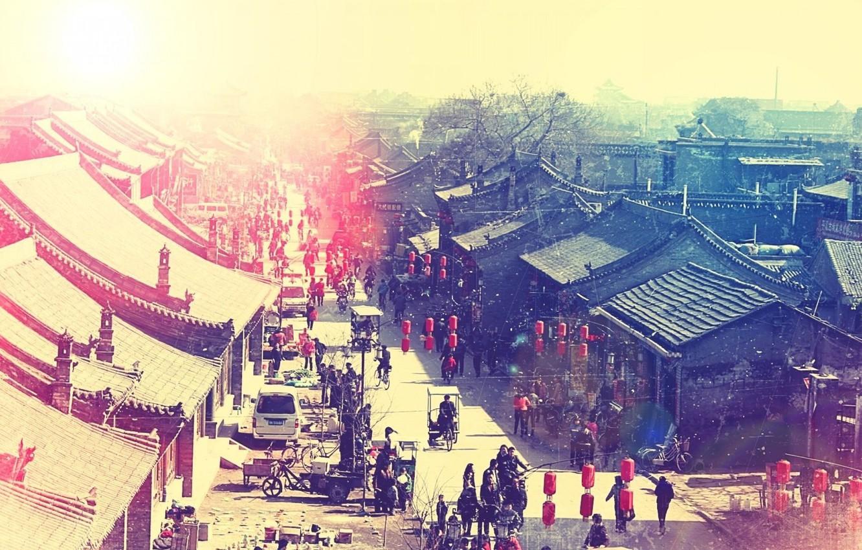 Photo wallpaper street, China, Asia, roof, lights