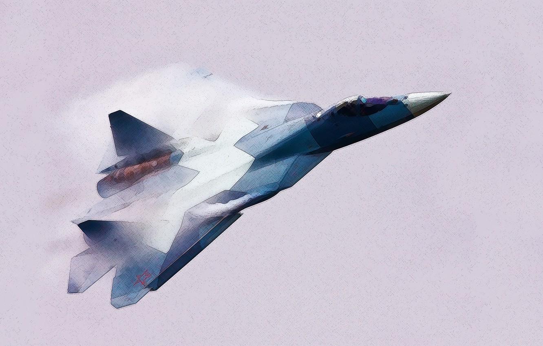 Photo wallpaper Figure, The plane, fighter, Russia, T-50, Aviation, BBC, multipurpose, Dry, PAK FA, Flies