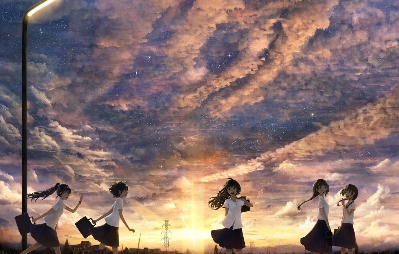 Photo wallpaper the sky, the sun, clouds, sunset, girls, home, anime, art, lantern, bounin