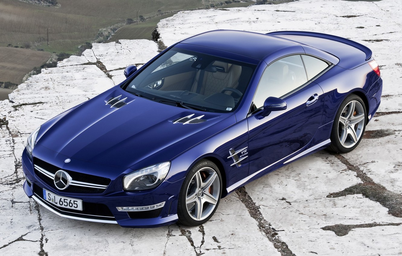 Photo wallpaper blue, car, 2012, Mercedes, auto, wallpapers, amg, sl65, new, new, benzo, AMG, сл65, mecedes