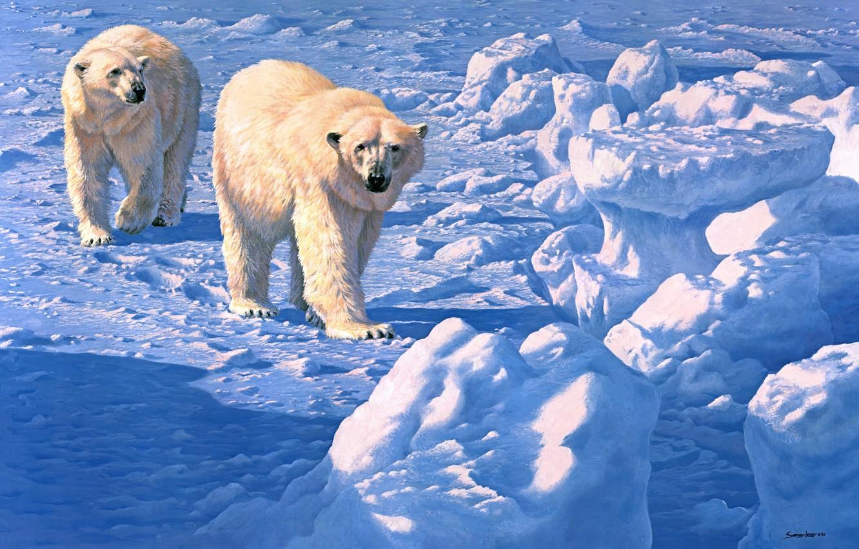 Photo wallpaper winter, snow, bears, painting, polar bear, John Seerey-Lester, Along the Ice Floe, polar