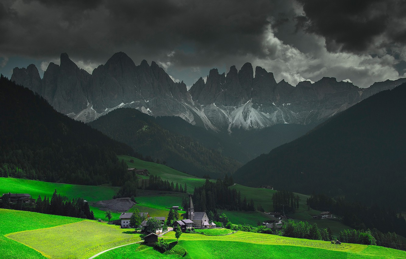 Photo wallpaper the sky, clouds, light, mountains, clouds, home, valley, Alps, Italy, Church, chapel, Funes, Santa Magdalena