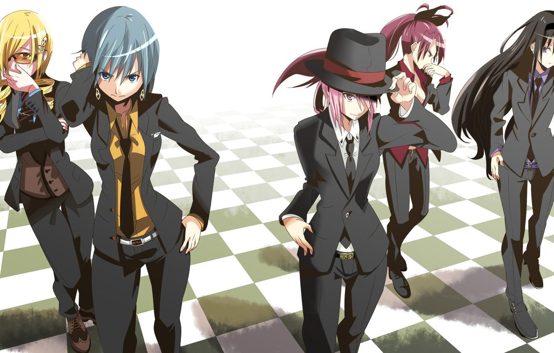 Photo wallpaper girls, hat, anime, art, costume, tie, mahou shoujo madoka magica, homura akemi, madoka kaname, sayaka …