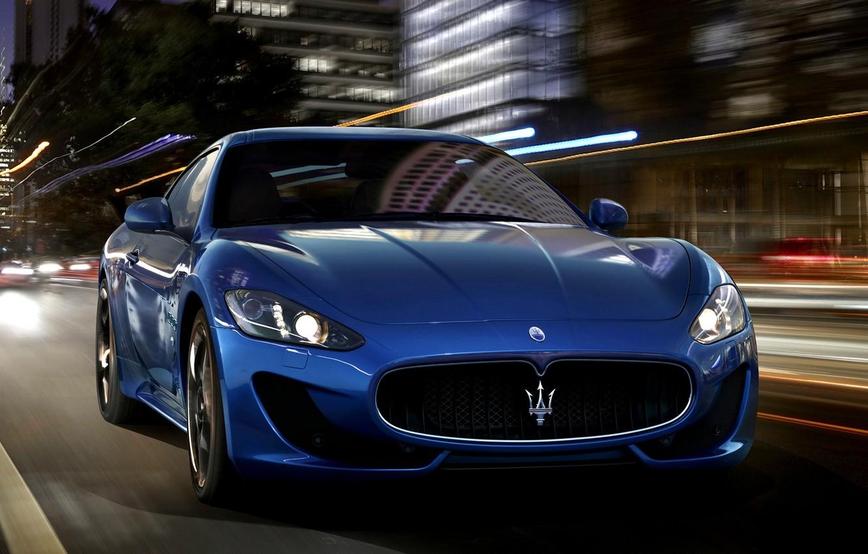 Photo wallpaper Maserati, Lights, Night, The city, Sport, Machine, Speed, Maserati, Car, Car, Beautiful, Speed, GranTurismo, Night, …