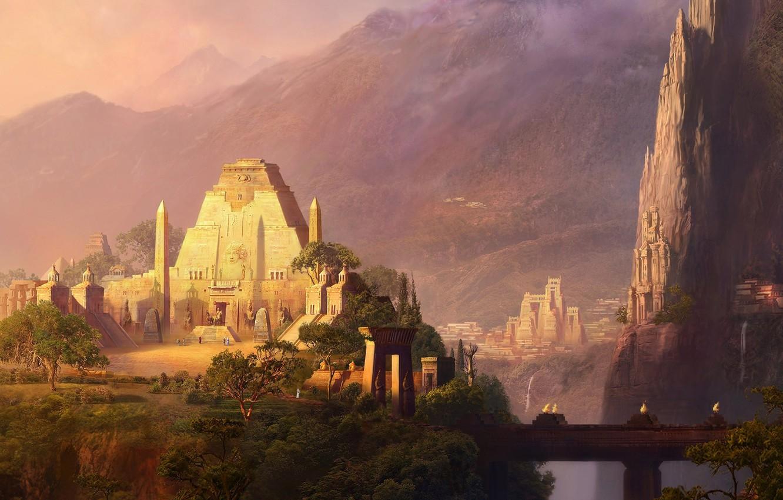 Photo wallpaper mountains, bridge, rocks, building, temple, waterfalls, the Aztecs