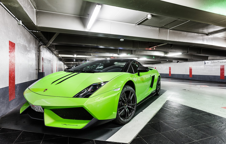 Photo wallpaper auto, Lamborghini, supercar, Gallardo, green, Spyder, LP570-4, Performante