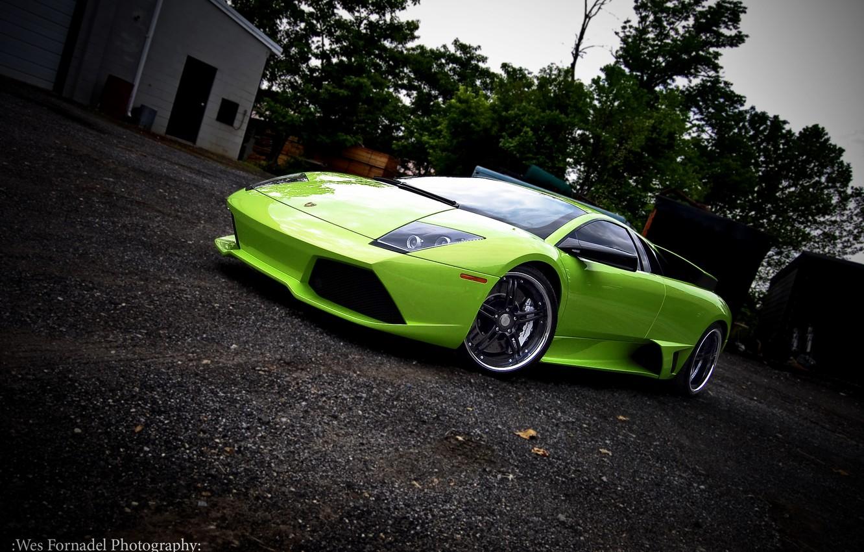 Photo wallpaper green, lamborghini, drives, Lamborghini, murcielago, 360 forged, green, Miami, Murcielago