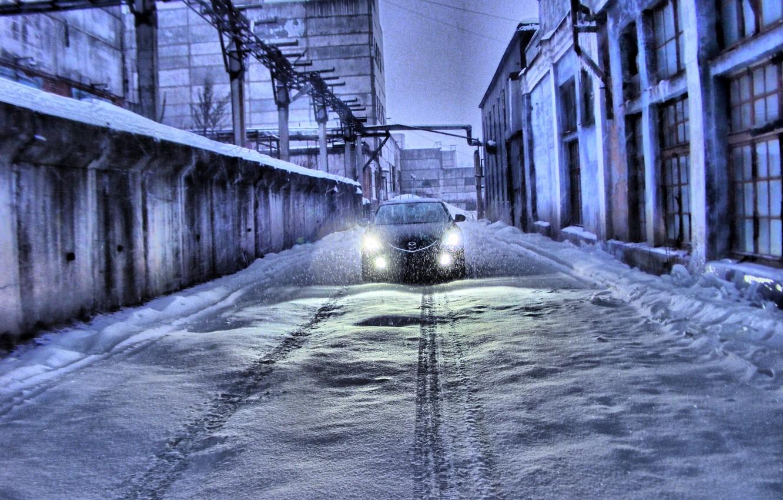 Photo wallpaper Winter, Snow, Traces, Mazda 6