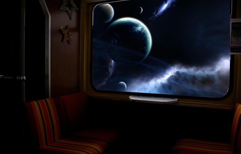 Photo wallpaper star, planet, Window, galaxy