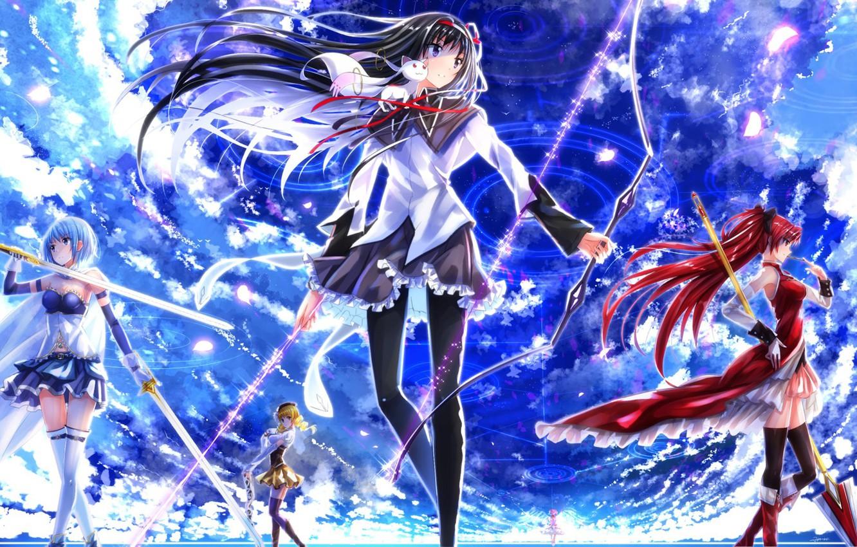 Photo wallpaper Anime, homura akemi, madoka kaname, sayaka miki, Tomoe Mami, Mahou shoujo madoka magica, Kyubey.