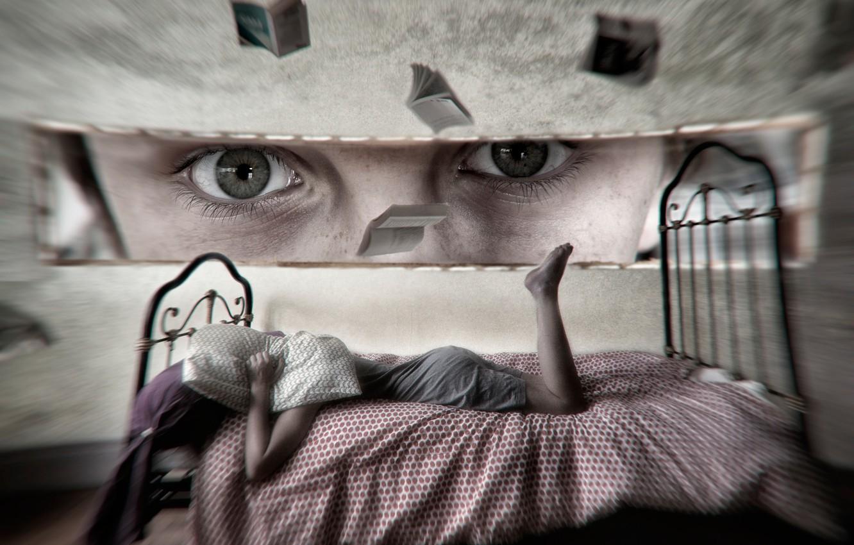 Photo wallpaper eyes, look, girl, fantasy, bed, art, imagination