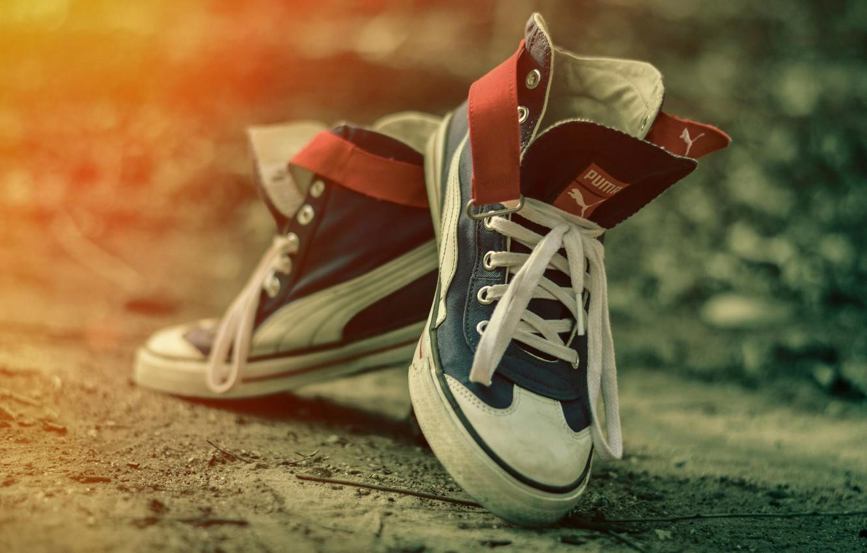 Photo wallpaper shoes, sneakers, bokeh, P u m a