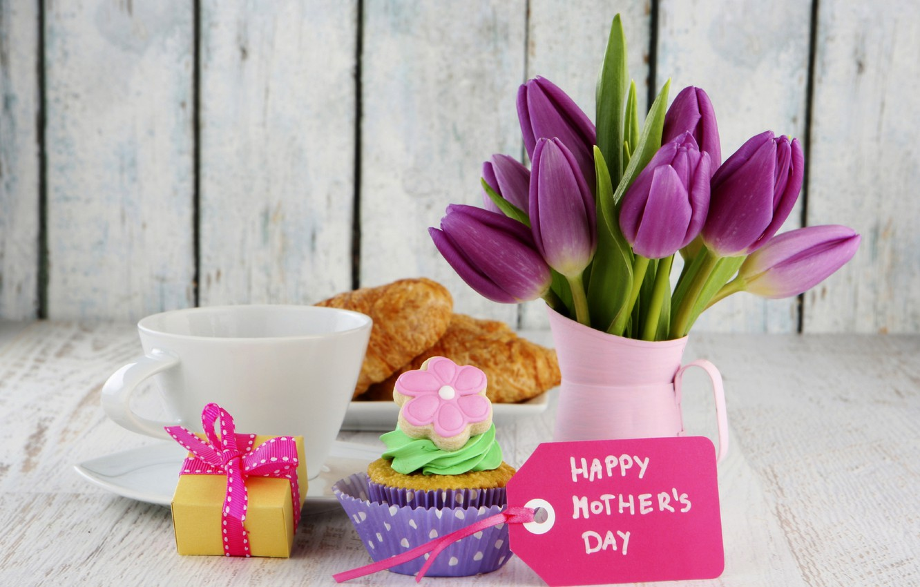 Photo wallpaper flowers, holiday, box, gift, coffee, food, map, bouquet, Cup, tulips, cake, cake, box, cream, dessert, …