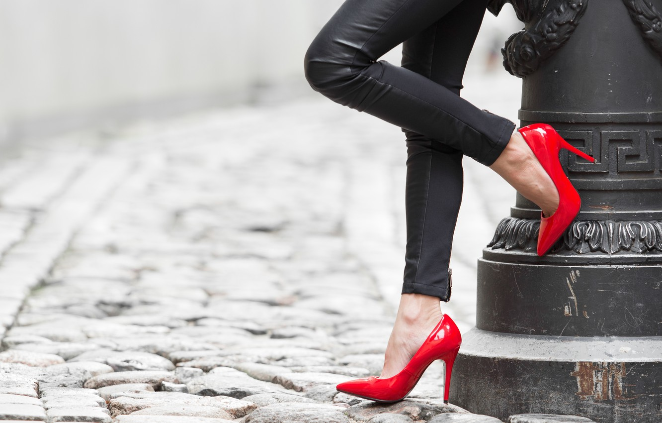 Photo wallpaper girl, heels, legs, red shoes