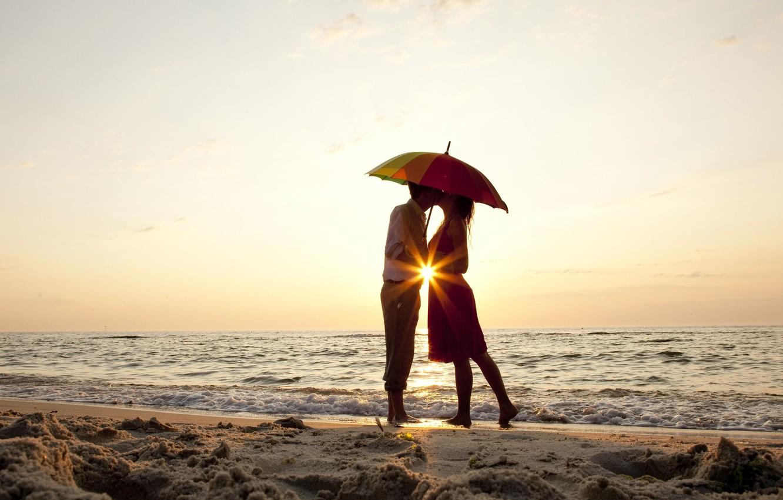 Photo wallpaper sand, sea, beach, summer, water, girl, love, river, umbrella, background, widescreen, Wallpaper, romance, mood, woman, …