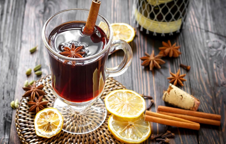 Photo wallpaper winter, wine, lemon, sticks, drink, cinnamon, spices, star anise, Anis, mulled wine