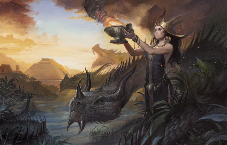 Photo wallpaper girl, woman, dragon, figure, the victim, swamp, ritual