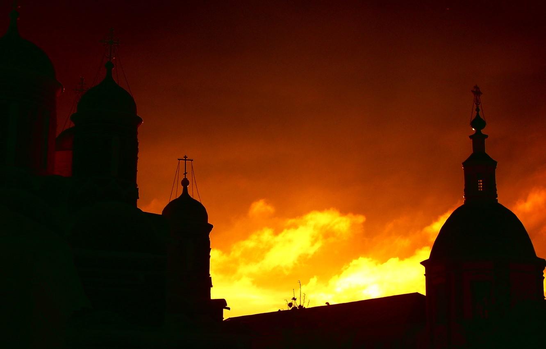 Photo wallpaper the sky, Sunset, shadows, the monastery