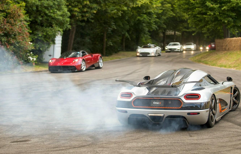 Photo wallpaper Koenigsegg, drift, supercar, smoke, power, spyker, burnout, Agera, pagani, One:1