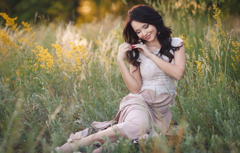 Photo wallpaper grass, girl, smile, the steppe, teeth, earrings, dress, brunette, ring, beautiful, beauty, sandals, Ukrainian, Angelina …