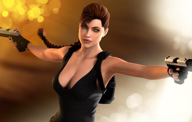 Photo wallpaper girl, glare, rendering, background, guns, Angelina Jolie, Tomb Raider, 3D model, Lara Croft, art by …