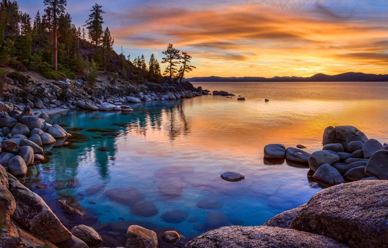 Wallpaper Sunset Lake Stones California Nevada Lake