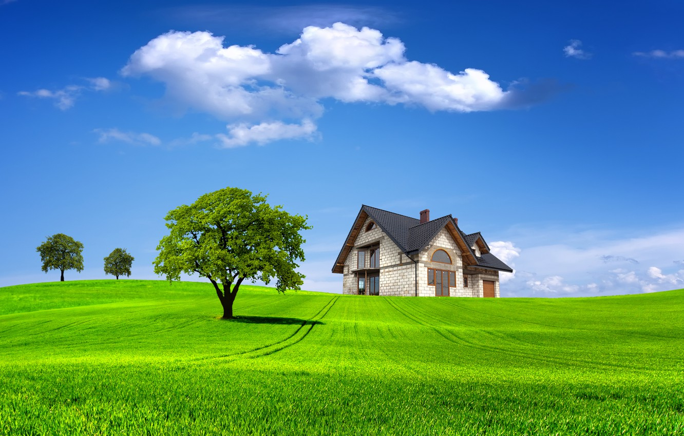 Photo wallpaper field, summer, the sky, grass, clouds, trees, landscape, nature, house, tree, house, summer, house, grass, …