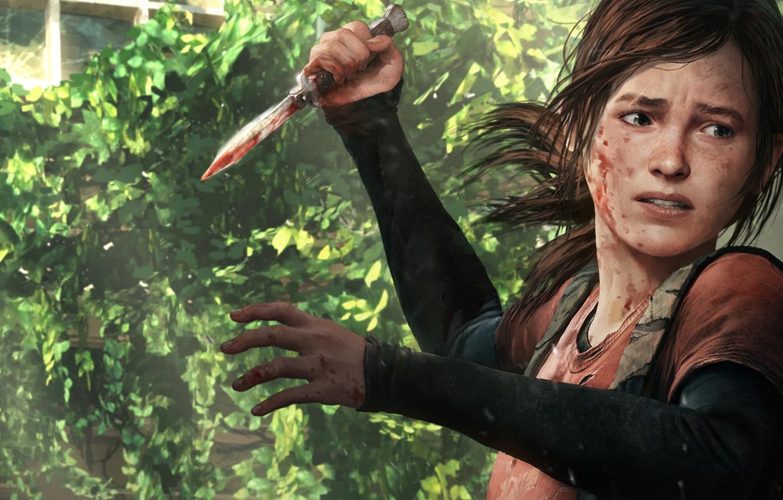 Photo wallpaper look, weapons, blood, the game, art, knife, Ellie, the last of us, Ellie