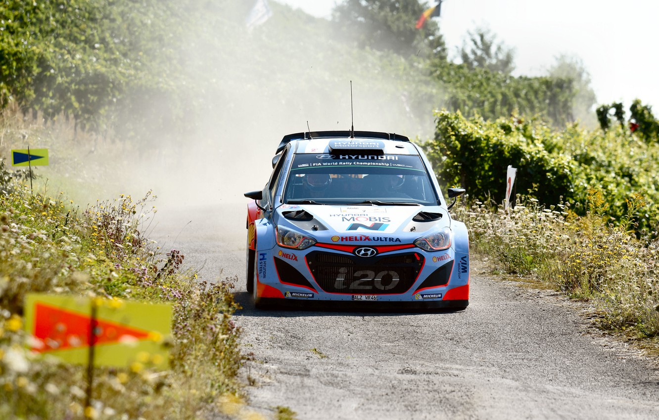 Photo wallpaper Dust, Hyundai, WRC, Rally, The front, i20