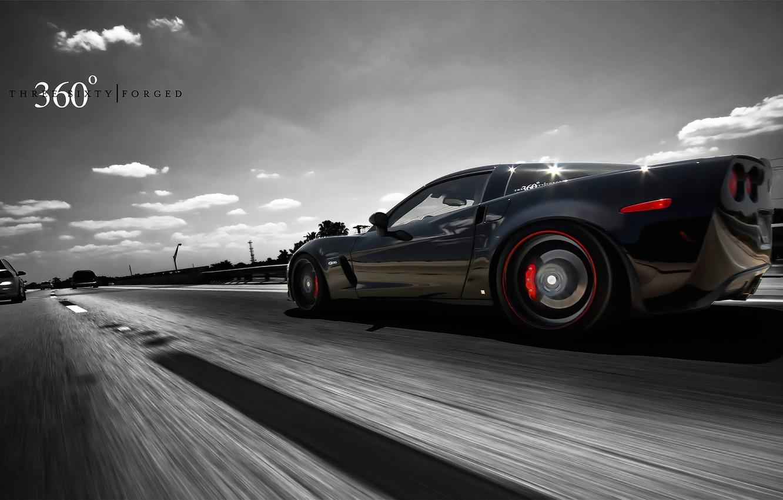Photo wallpaper auto, asphalt, speed, track, Z06, Corvette, Chevrolet, 360 three sixty forged