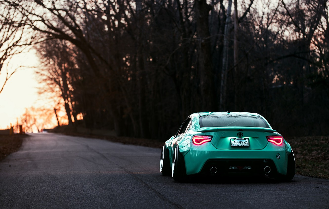 Photo wallpaper Toyota, GT86, Stance, Rear, Turquoise, Works
