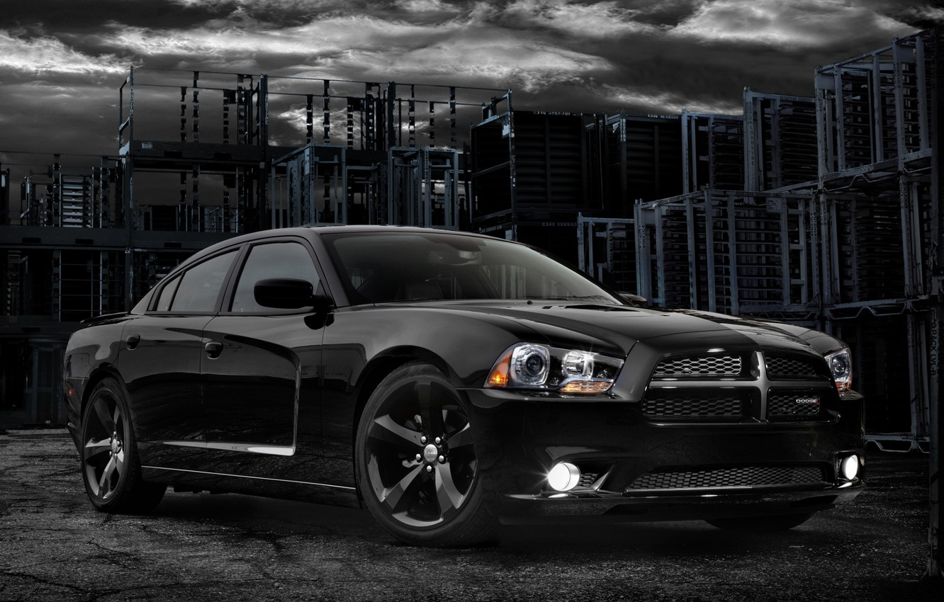 Photo wallpaper the sky, black, 2012, Dodge, dodge, charger, the front, Blacktop, charger, version, special, blacktop, substation