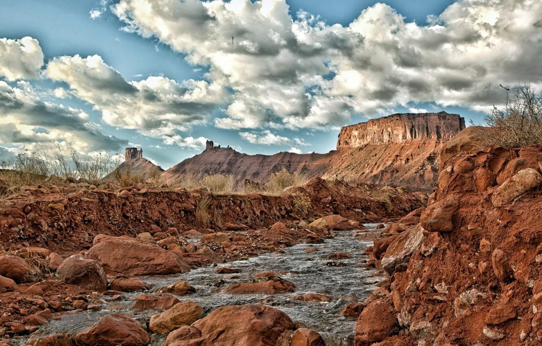 Photo wallpaper landscape, mountains, river, stones