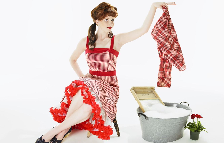 Photo wallpaper style, redhead, wash, pin-up