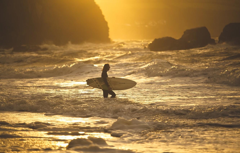 Wallpaper Wave Beach Sunset Surfer Surfing Extreme