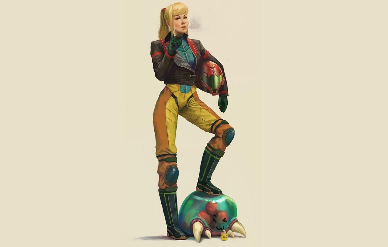 Photo wallpaper girl, cigarette, helmet, samus aran, Metroid, Metroid Prime