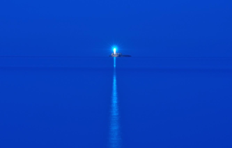 Photo wallpaper sea, night, lighthouse, island
