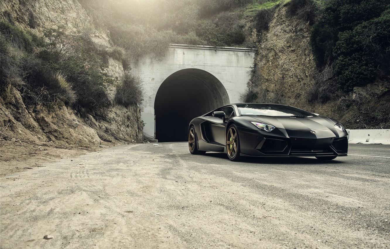 Photo wallpaper Lamborghini, Front, Black, Tuning, LP700-4, Aventador, Mansory, Supercar, Wheels, RDB LA Matte, Savini