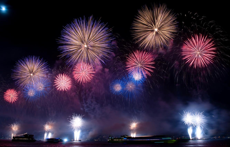 Photo wallpaper night, holiday, salute, fireworks