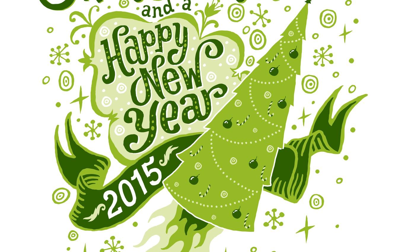Photo wallpaper Rocket, Happy New Year, Tree, Merry Christmas, 2015