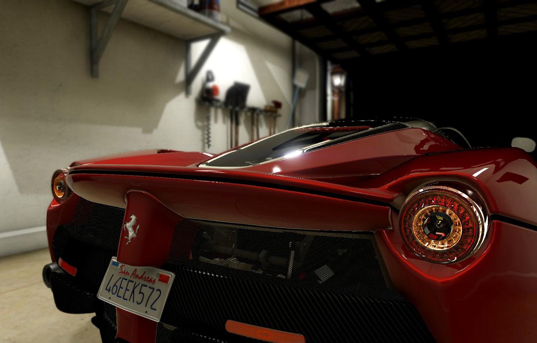 Photo wallpaper Ferrari, red, back light, laFerrari