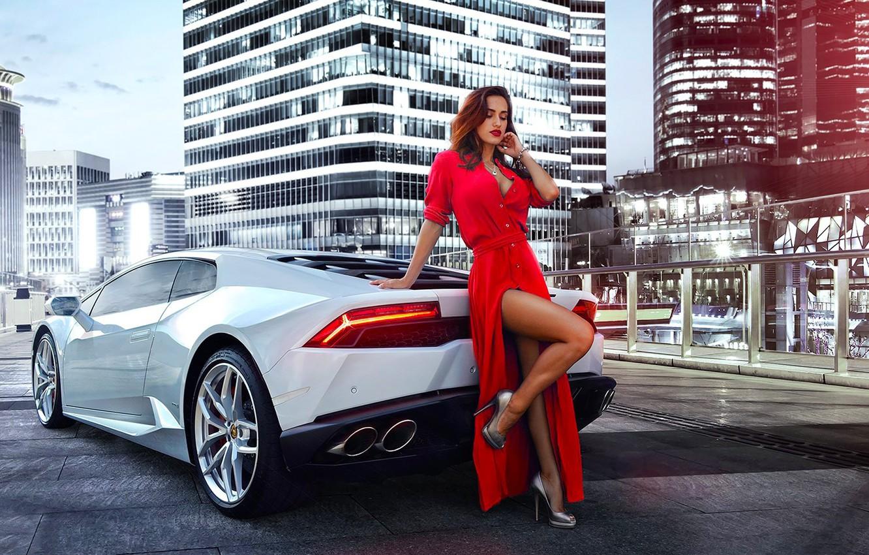 Photo wallpaper Lamborghini, Girl, Red, Legs, Model, White, Dress, Nice, Huracan