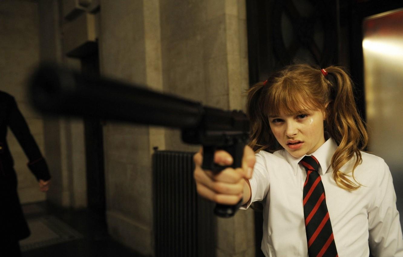 Photo wallpaper gun, tie, Chloë Grace Moretz, hit girl, Kick, Mindy MacReady, Kick-Ass, Chloë Moretz