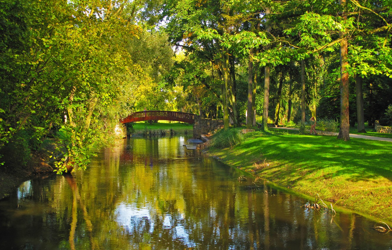 Photo wallpaper grass, trees, bridge, nature, Park, river, photo, Poland, Sochaczew
