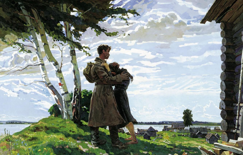Photo wallpaper mood, figure, meeting, soldiers, birch