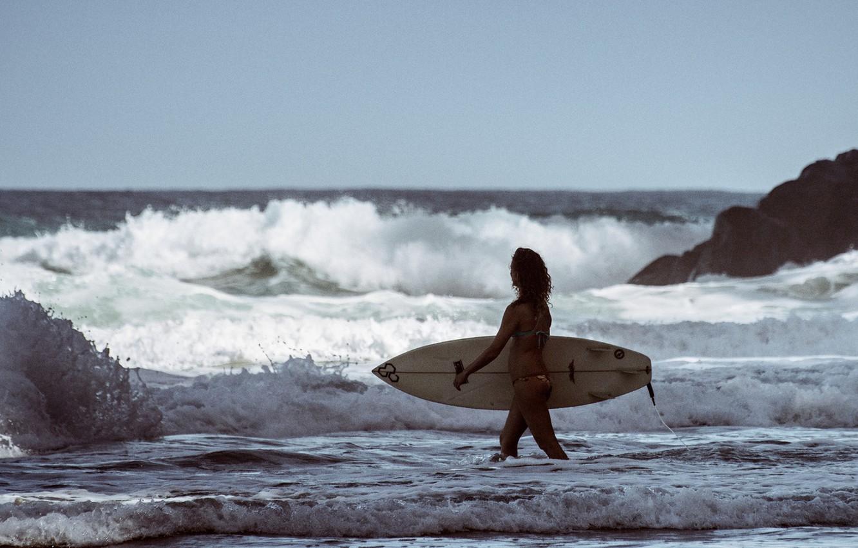 Wallpaper Waves Girl Beach Surfer Surfboard Troubled