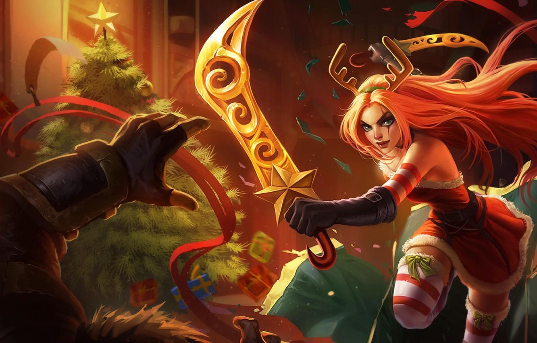 Photo wallpaper girl, tree, sword, New year, League of legends