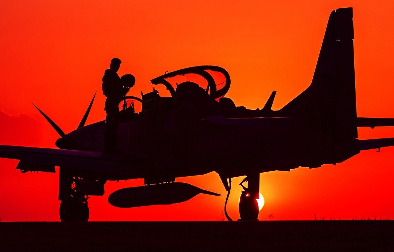 Photo wallpaper silhouette, pilot, attack, easy, turboprop, A-29, Super Tucano